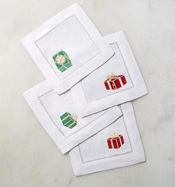 Red & Green Holiday Cocktail Napkins by Sferra | Fig Linens