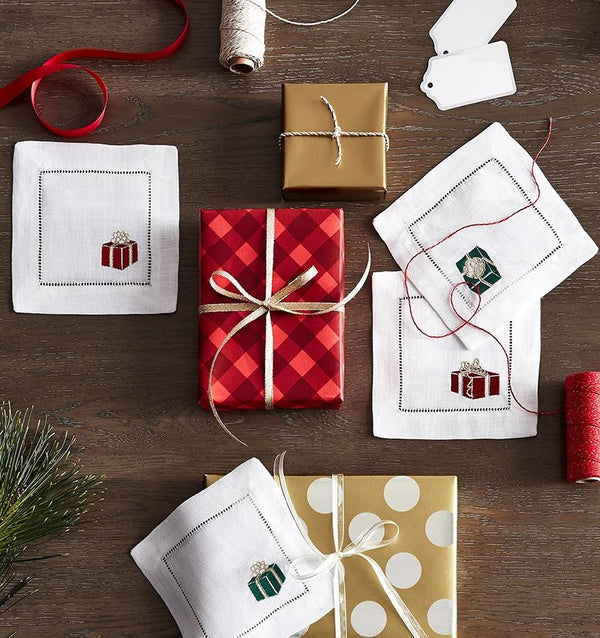 Red & Green Gifts Holiday Cocktail Napkins by Sferra | Fig Linens
