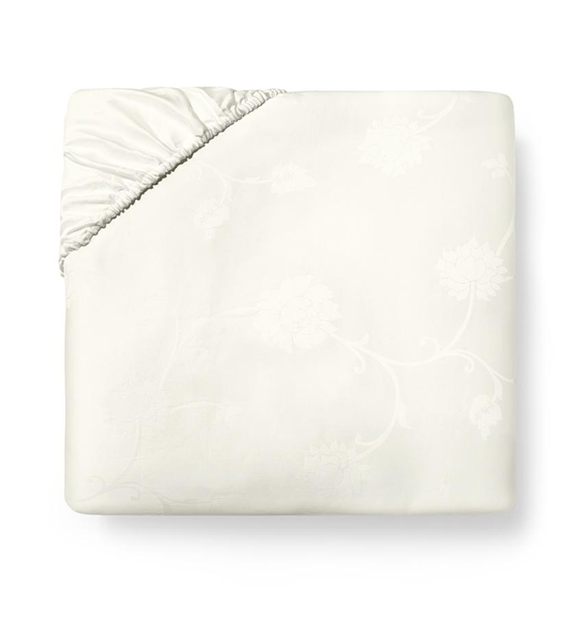 Giza 45 Ivory Jacquard Luxury Fitted Sheets by Sferra | Fig Linens