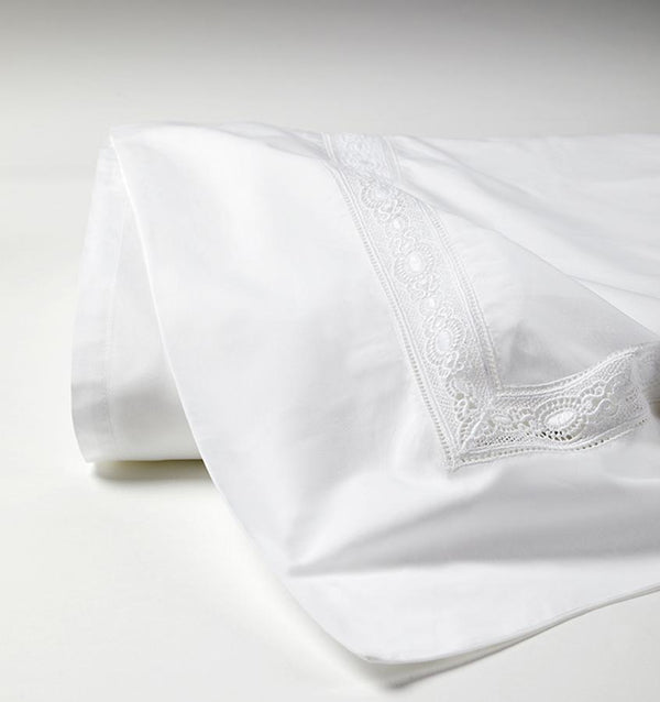 White Giza 45 Lace Luxury Sheet Set by Sferra | Fig Linens