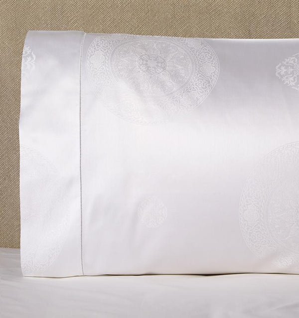 White Giza 45 Medallion Pillowcases  by Sferra | Fig Linens