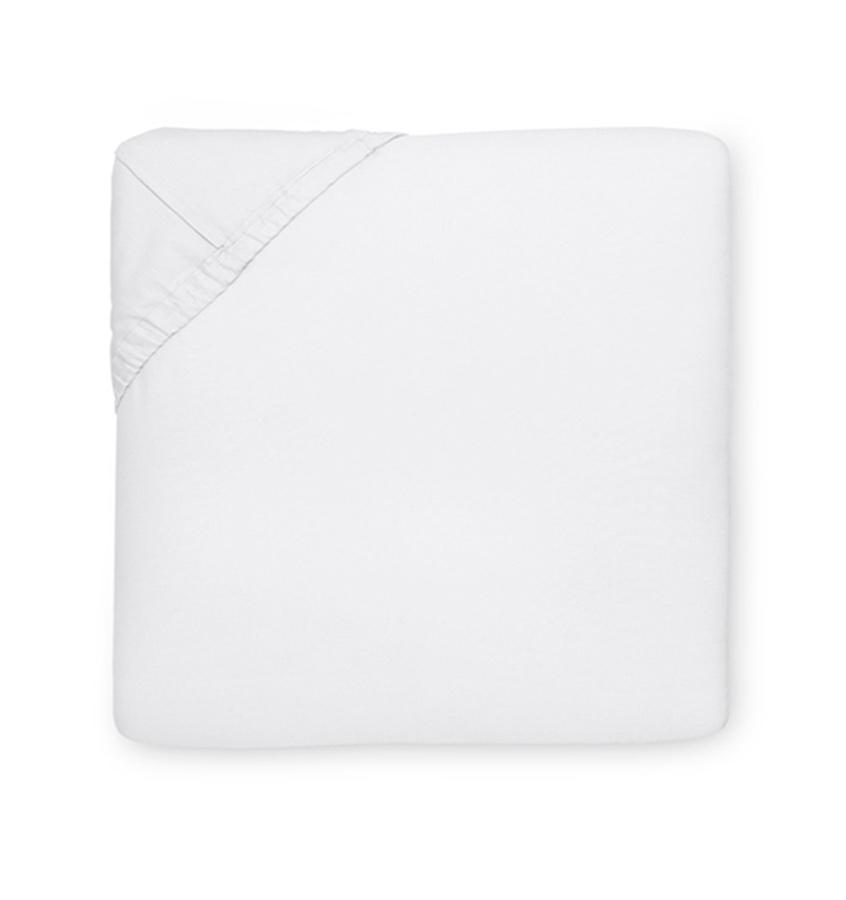 White Giza 45 Quatrefoil Fitted Sheet by Sferra | Fig Linens and Home