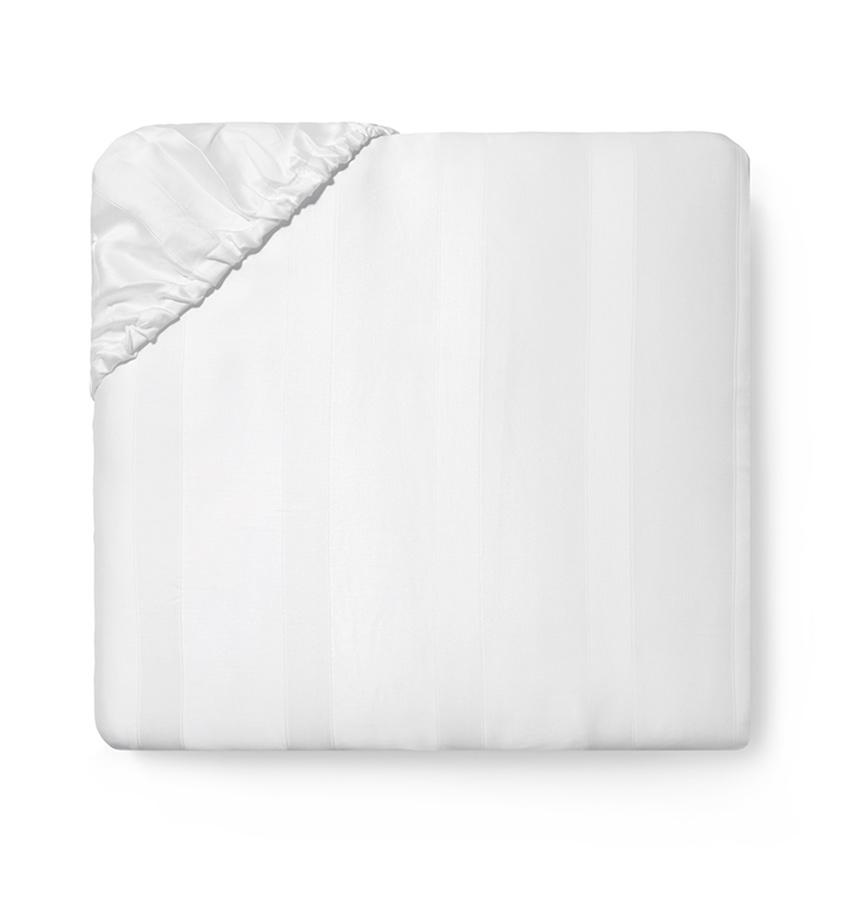 White Giza 45 Stripe Sateen Fitted Sheet by Sferra | Fig Linens