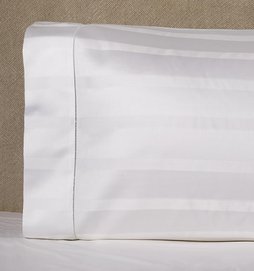 White Giza 45 Stripe Sateen Pillowcase by Sferra | Fig Linens