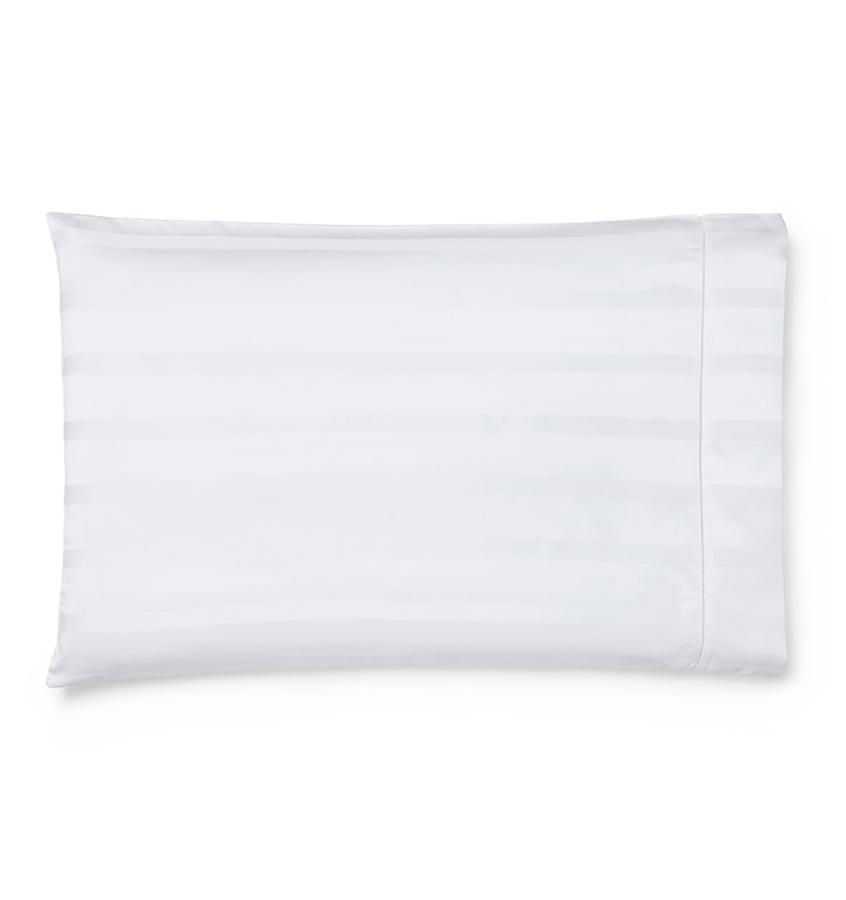 White Giza 45 Stripe Sateen Case by Sferra | Fig Linens
