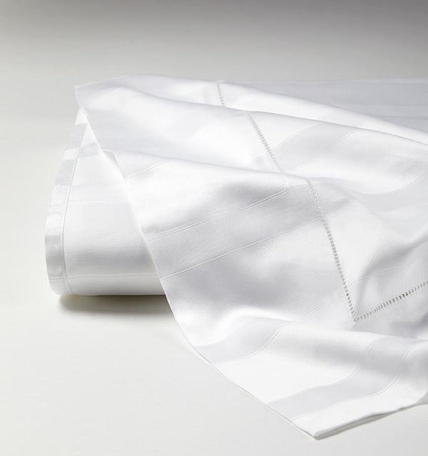 White Giza 45 Stripe Sateen Flat Sheet by Sferra | Fig Linens