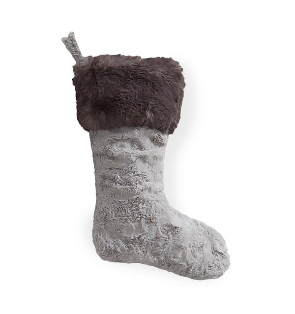 Stivali Silver Faux Fur Stocking by Sferra | Fig Linens and Home