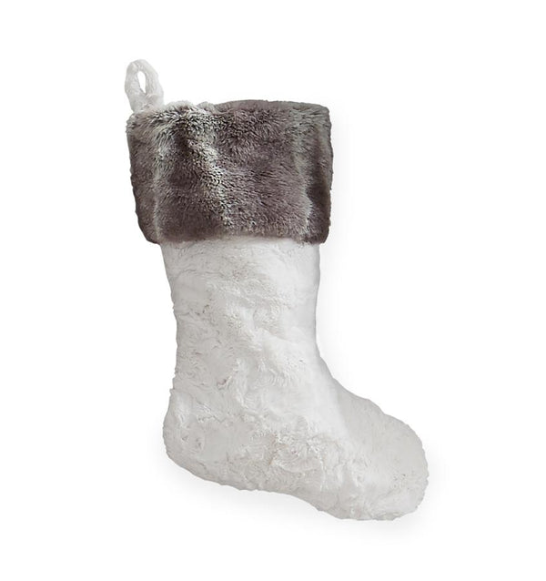 Stivali White Faux Fur Stocking by Sferra | Fig Linens and Home
