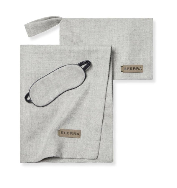 Viaggio Grey Baby Alpaca Luxury Travel Kit by Sferra | Fig Linens and Home