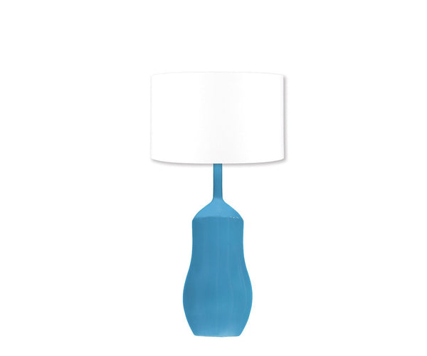 Fig Linens - Appia Peacock Blue Ceramic Lamp by William Yeoward