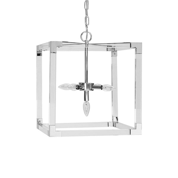Eli Acrylic & Nickel Square Chandelier by Worlds Away | Fig Linens