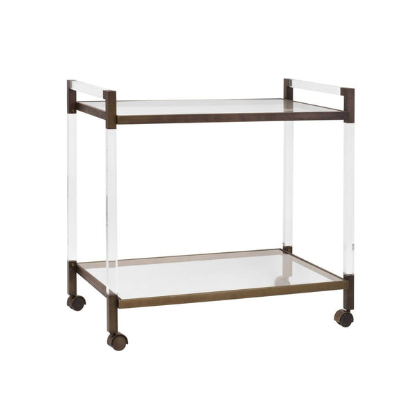 Acrylic & Bronze Bar Cart | Fig Linens and Home
