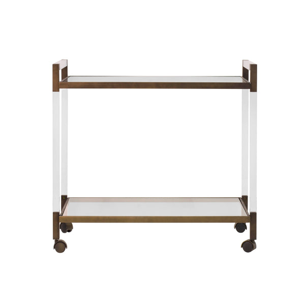 Acrylic & Bronze Rolling Bar Cart | Fig Linens and Home