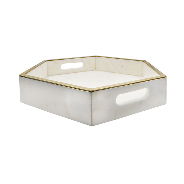Banks White Marble Tray by Worlds Away | Fig Linens and Home