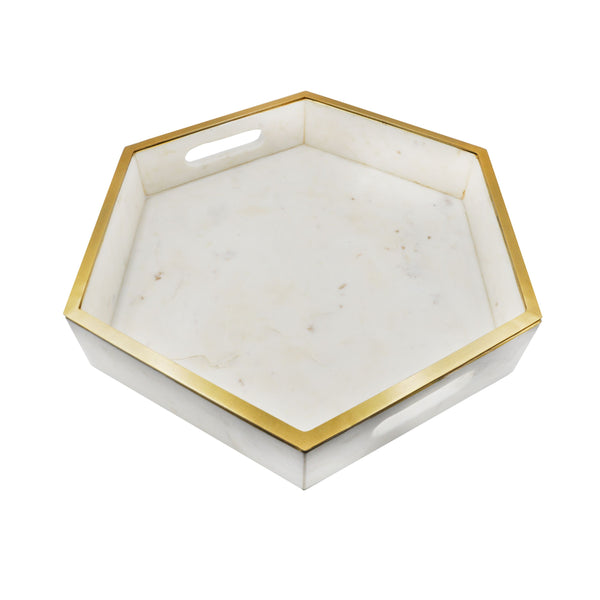 White Marble Tray by Worlds Away | Fig Linens and Home