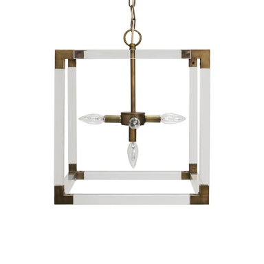 Eli Acrylic & Bronze Square Chandelier by Worlds Away | Fig Linens