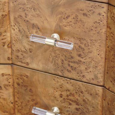 Dark Burl Wood 3 Drawer Chest with Acrylic Pulls by Worlds Away | Fig Linens and Home
