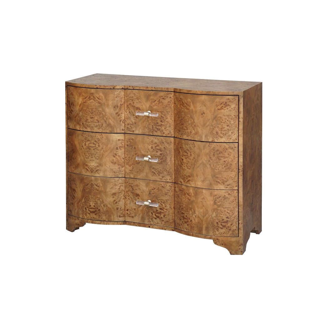 Dark Burl Wood 3 Drawer Chest by Worlds Away | Fig Linens and Home