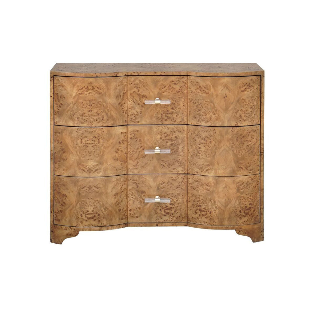 Plymouth Dark Burl Wood 3 Drawer Chest by Worlds Away | Fig Linens and Home