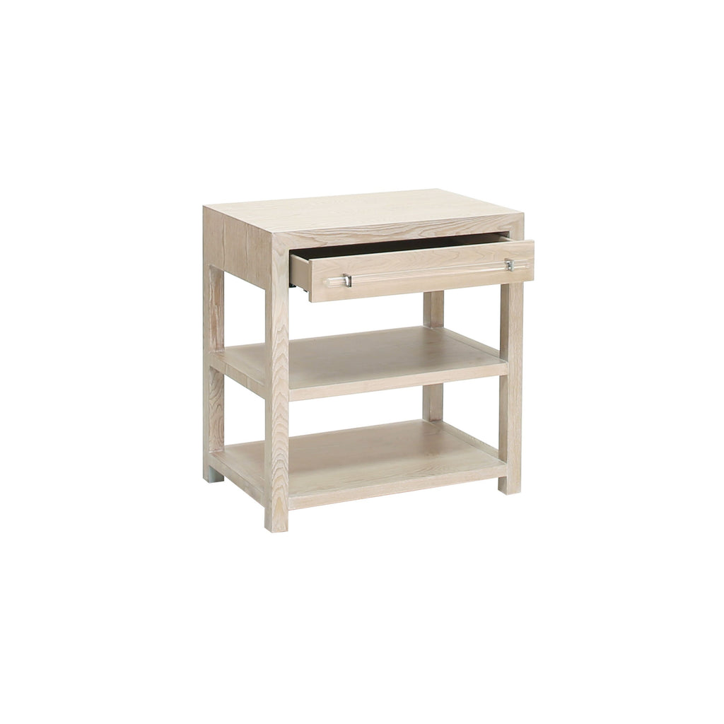 Garbo Cerused Oak & Nickel Side Table with Drawer | Fig Linens