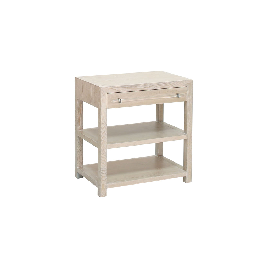 Garbo Cerused Oak & Nickel Side Table | Fig Linens