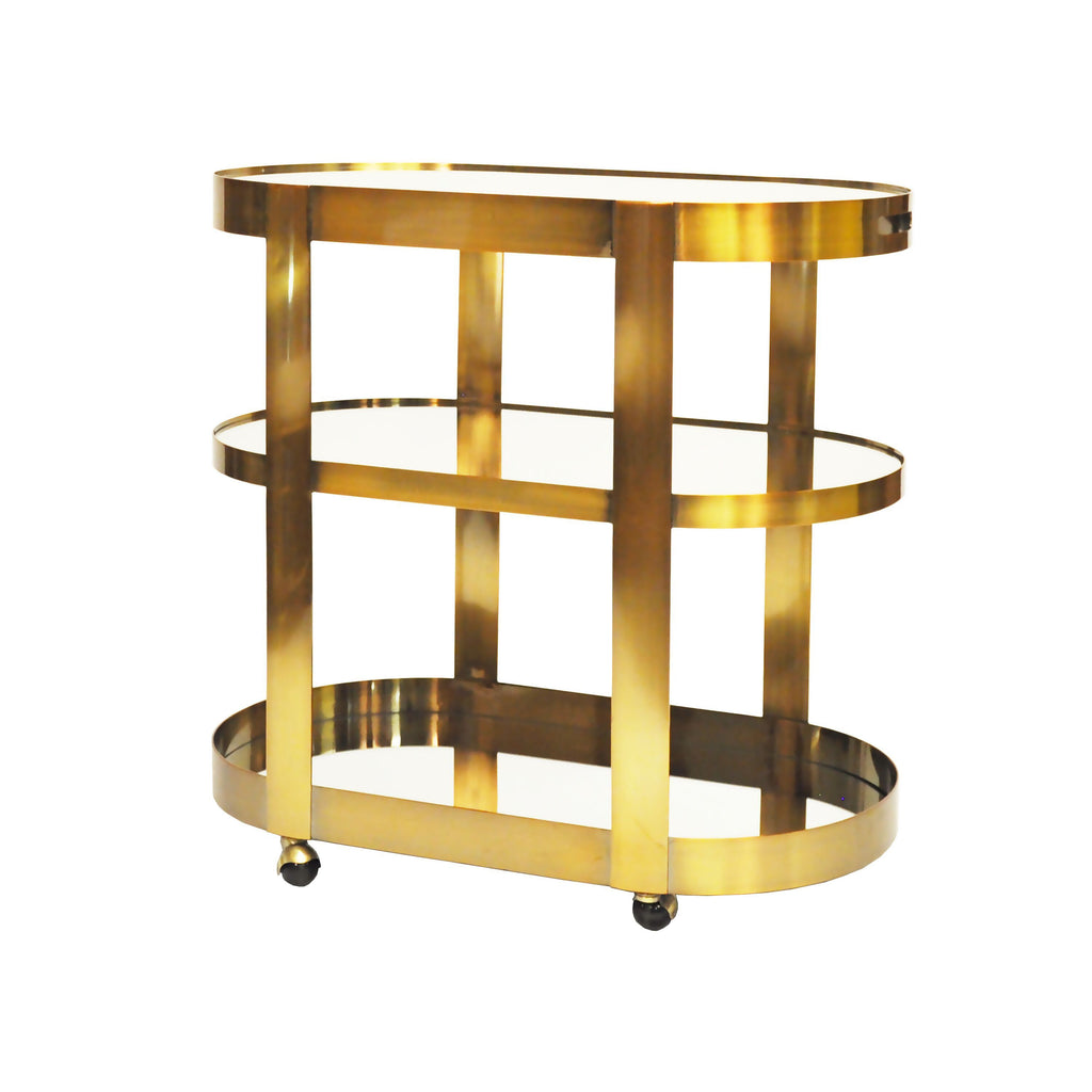 Hugh Antique Brass Bar Cart by Worlds Away| Fig Linens and Home