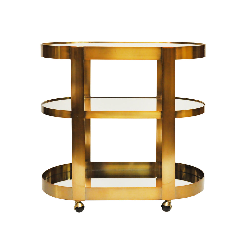 Hugh Antique Brass Rolling Bar Cart by Worlds Away| Fig Linens and Home