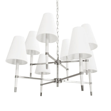 White & Nickel Chandelier by Worlds Away | Fig Linens and Home