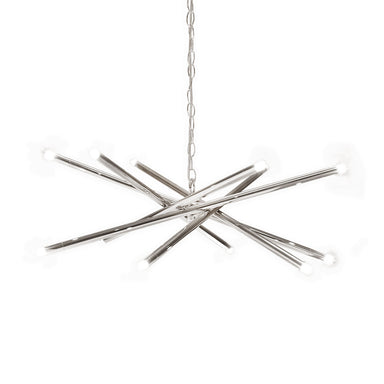 Lit Nickel 12 Light Chandelier by Worlds Away | Fig Linens and Home