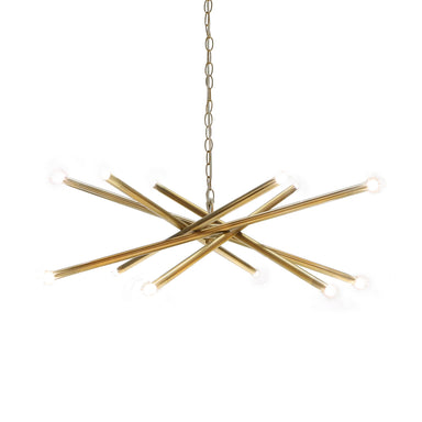 Fig Linens - Antique Brass Contemporary Chandelier by Worlds Away - Lit