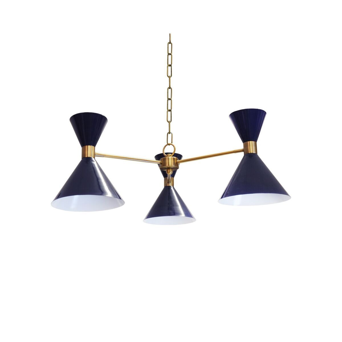 Sullivan Navy & Brass Chandelier by Worlds Away | Fig Linens