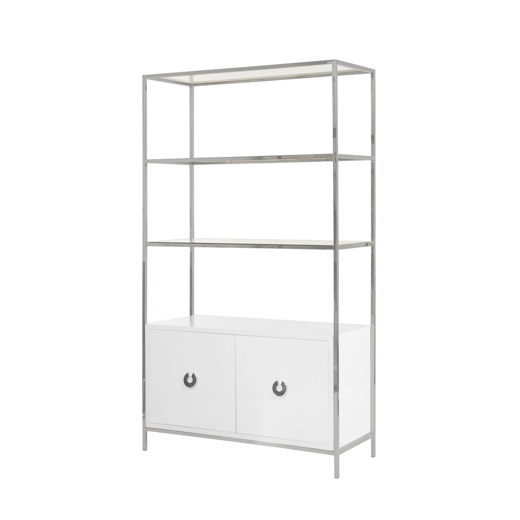 Wyeth White Lacquer & Nickel 2 door Cabinet by Worlds Away | Fig Linens