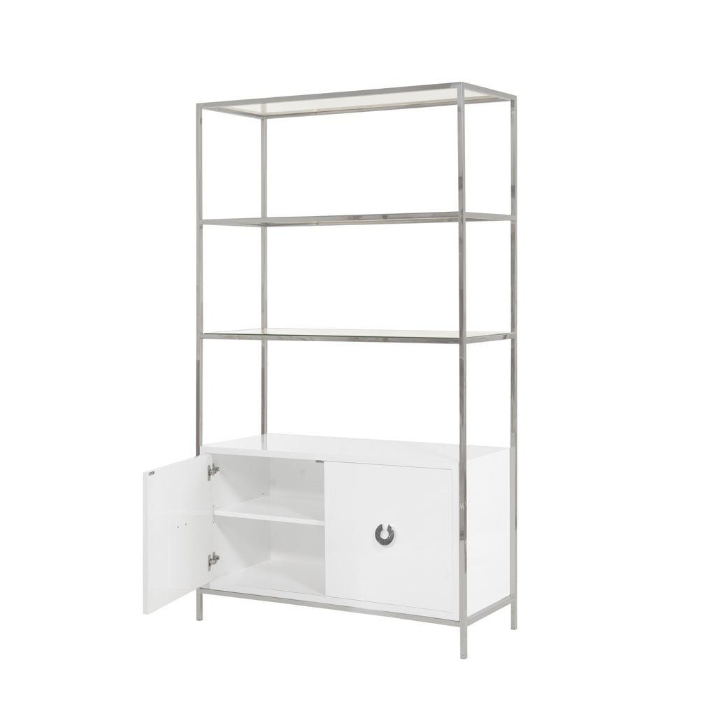 Wyeth White Lacquer & Nickel Cabinet by Worlds Away | Fig Linens