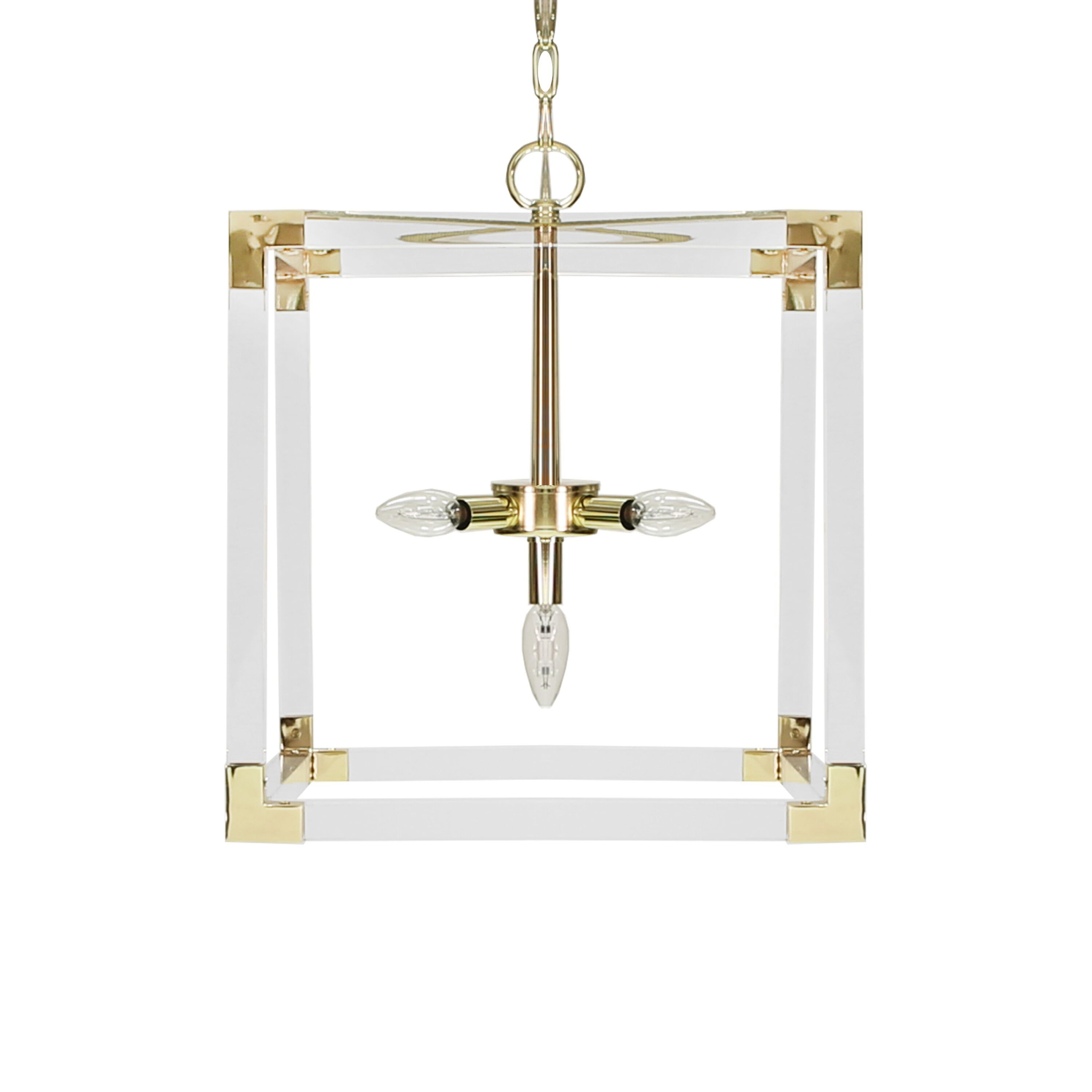 Eli Acrylic & Brass Square Pendant by Worlds Away | Fig Linens
