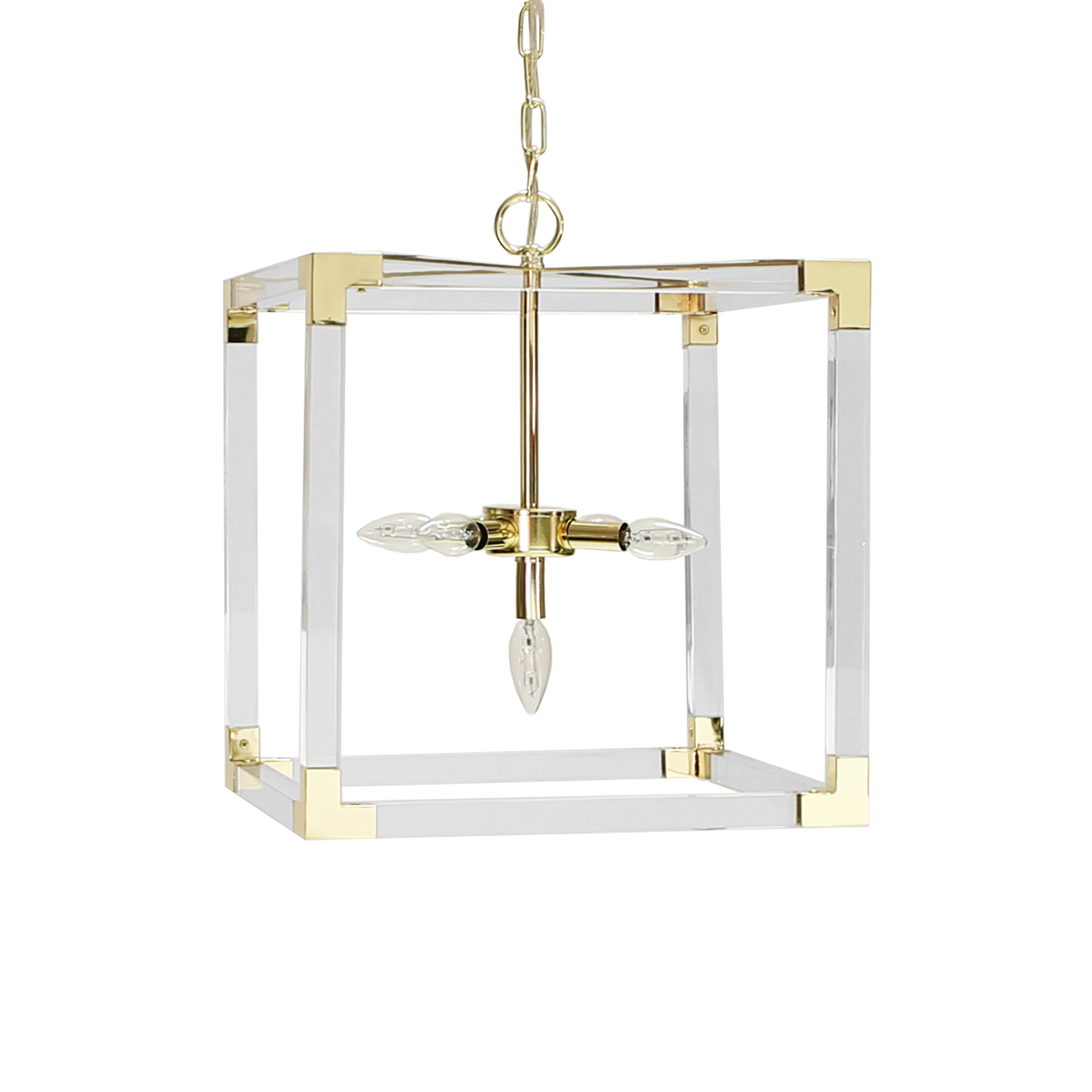 Eli Acrylic & Brass Square Chandelier by Worlds Away | Fig Linens