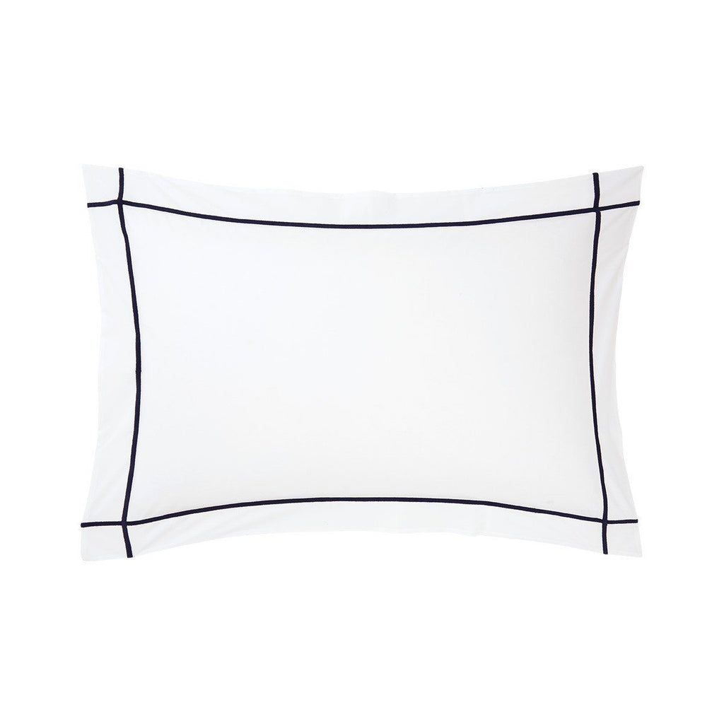 Fig Linens - Yves Delorme Marine Bedding - White and Navy Blue Shams