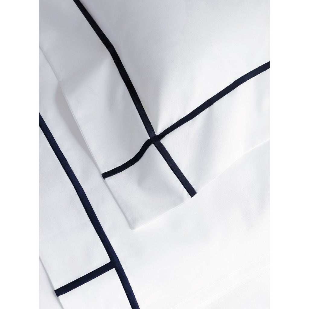 Fig Linens - Yves Delorme Marine Bedding - White and Navy Blue pillowcases