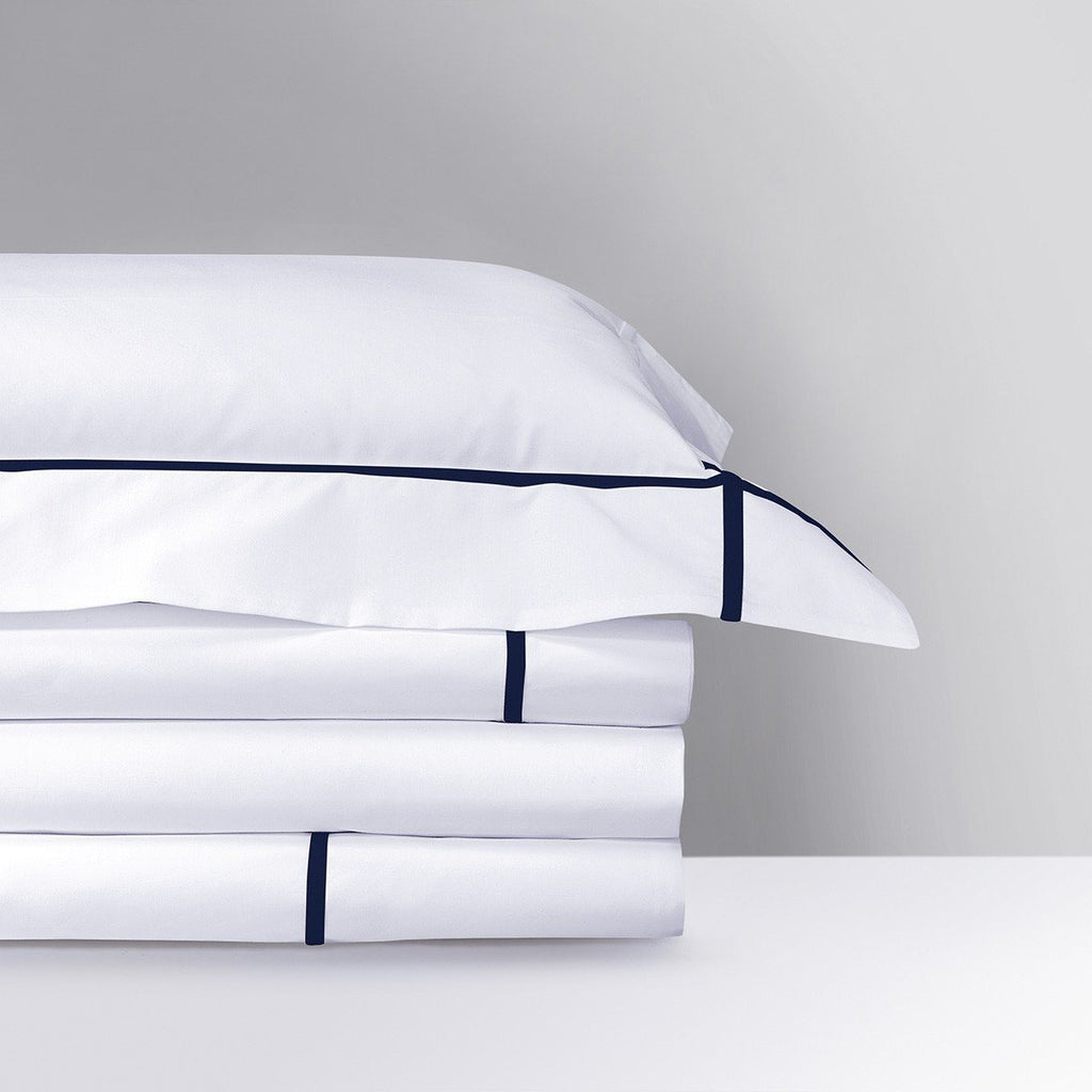 Fig Linens - Yves Delorme Marine Bedding - White and Navy Blue Bedding