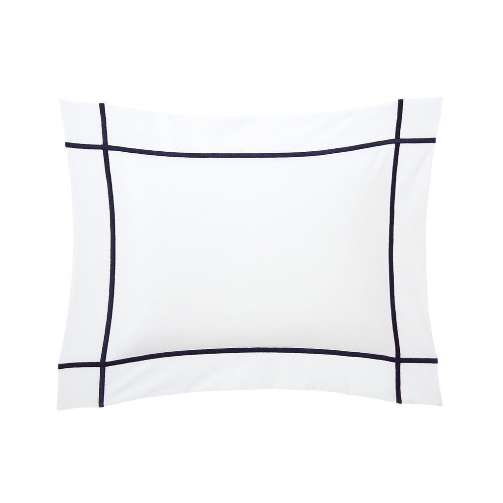 Fig Linens - Yves Delorme Marine Bedding - White and Navy Blue Boudoir Sham