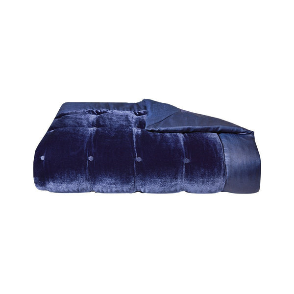 Cocon Marine Silk Velvet Coverlet by Yves Delorme | Fig Linens