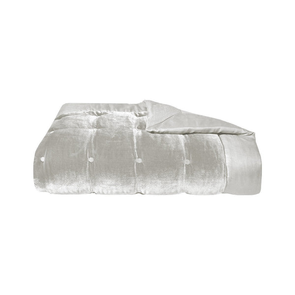 Cocon Platine Silk Velvet Coverlet by Yves Delorme | Fig Linens