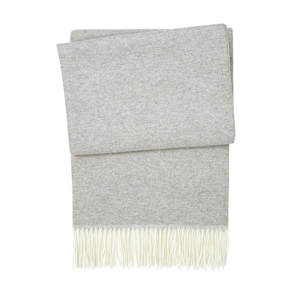 Agora Galet Light Gray Cashmere Throw by Yves Delorme | Fig Linens
