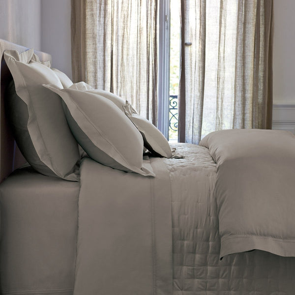Triomphe Platine Gray Quilted Coverlet by Yves Delorme | Fig Linens