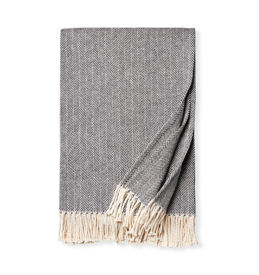 Fig Linens - Sferra Celine black throw blanket