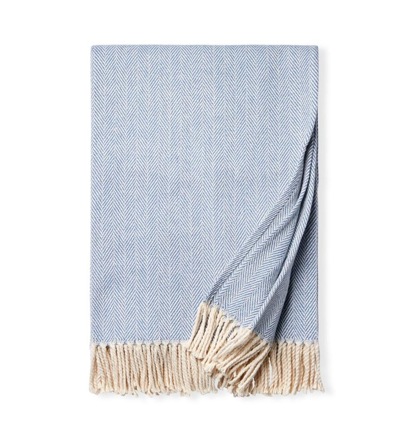 Fig Linens - Sferra Celine cadet blue throw blanket