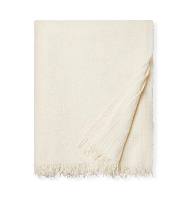 Ciarra Ivory Cashmere Throw by Sferra | Fig Linens and Home