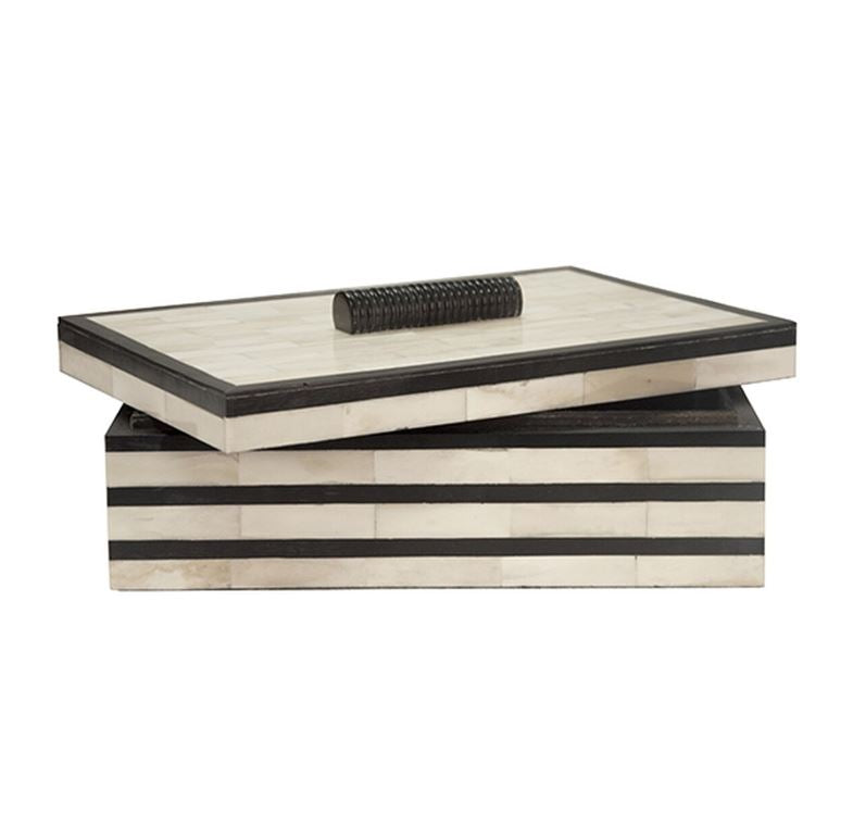 Concord Striped Decorative Box by Worlds Away | Fig Linens
