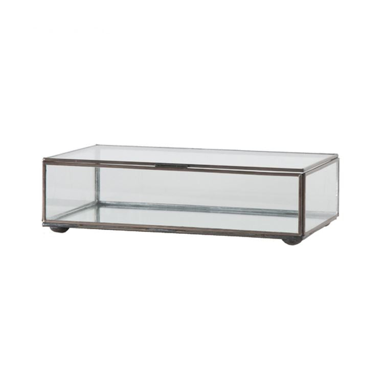 Small Clear Glass Decorative Box by Worlds Away | Fig Linens
