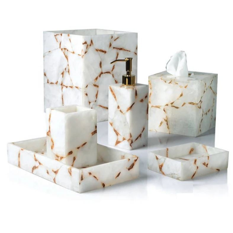 Taj Milk Quartz & Gold Bath Accessories by Mike + Ally | Fig Linens