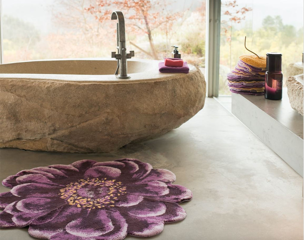 Fiore Rug by Abyss and Habidecor - Floral Bathroom Floor Rugs - Fig Linens